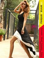 Simply Design Scoop Neck Color Block High-Low Hem Special Strap Embellished Black Sleeveless Imitation Silk Dress For Women