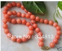 8mm natural pink coral beads nice necklace  #1477