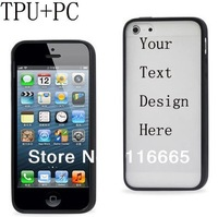 custom TPU+PC case for iphone 5 4s 4,Soft + hard plastic combo cover with oem customized design printing free DHL 20pcs/design