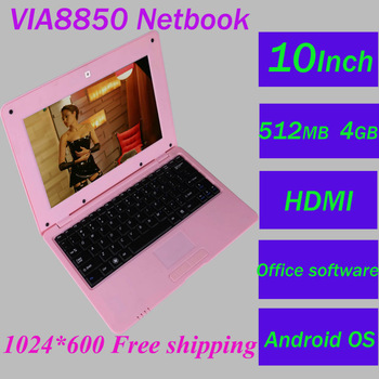 Android4.0 cheap mini netbook notebook WIFI VIA8850 10 inch GOOGLE laptop tablet pcHDMI office software computer free ship MJ210