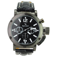 V6 Super Speed Stylish Leather Band Metal Round Black Dial with Time Adjusting Protector Casual Sports Watch-Black