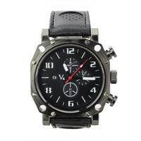 Elegant V6 PU Leather Band Embeded Three Round Dials Quartz Movement Wrist Watch-Black Free shipping