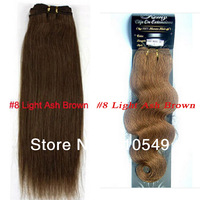 "Free Shipping 20"" Body Wave Virgin Remy Human Hair Weft Human Hair Extensions 100g/pcs 9 Color To Choose"