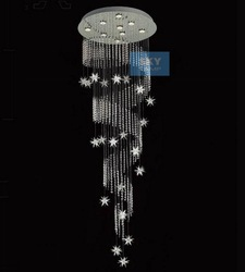 NEW free shipping H180cm Modern Spiral Star LED Crystal Ceiling Light Pendant Lamp RainDrop Chandelier(China (Mainland))