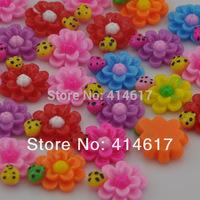 50 pcs Sunflower Ladybug Flat Backed Resin Flatback Button