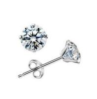 Brief elegant 925 pure silver stud earring earrings women's silver sparkling cubic zircon