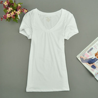 Summer spring V-neck short-sleeve basic shirt white fashion women's plus size t-shirt