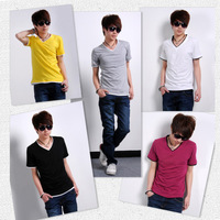 2013 New Korean Fashion Personal V-Neck Sports Casual Cotton Mens T-Shirt free shipping JM007