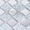 Crystal glass mosaic mirror tile wall stickers white mirror puzzle background wall(China (Mainland))