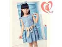 Free shipping   Children's clothing girls dresses 2013 new Korean girls sleeveless denim dress