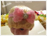 5pcs 3inch Shabby Chiffon Flower Bowknot with Pearl Rhinestone + Shinny Headband Hair Accessories