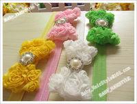 9pcs Baby Girl (5inch Big Shabby Chiffon Butterfly + Glitter Diamond ) DIY Bowknot Baby Headwear