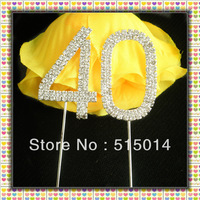 Free Shipping !5 cm Rhinestone Number 40 Cake Topper ,Cake Decoration,Price Negotiable For Large Order