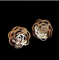 Min order $15(mix order) Free shipping 14K titanium steel rose gold elegant rose daisy flower big rhinstone earring