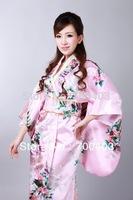 2014  Fashion  Vintage Japanese Women's Kimono Obi Party Evening Dress Butterfly Free Shipping H0040-b