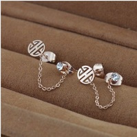 Min order $15(mix order) Free shipping elegant copper cash double Ear hole rhinestone earring