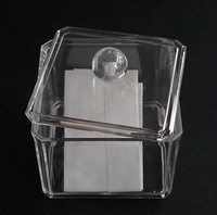 Free Shipping 9.5*9.5*9 cm Hot Sale Clear Plastic Cosmetic Swab Cotton Storage Box,Wholesale Transparent Plastic Makeup Swab Box