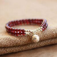 Accessories jewelry female garnet bracelet bell double layer 925 pure silver bracelet