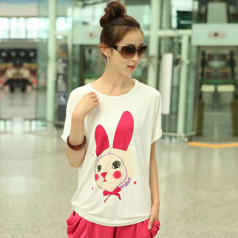 free shipping Summer new arrival white rabbit print loose t-shirt 1128(China (Mainland))