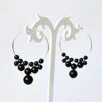 925 pure silver hoop earrings garnet crystal earrings Christmas birthday gift