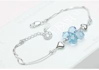 925 pure silver crystal bracelet female fashion Christmas birthday gift
