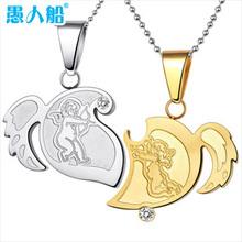 silver jewelry Love wings lovers titanium necklace cupid combination lovers pendant keepsake pendant lettering