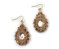 Fashion Hot Sale New Arrival Gold Sparkling Rhinestone Hollow Out Drop Shaped Earring E1048