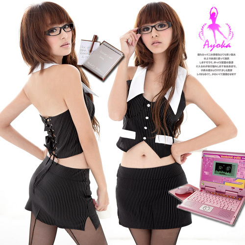 Free shipping Women Fashion New Sexy Erotic Office Lady Costume Cosplay Dress Set Lingerie Free Size [N16880](China (Mainland))
