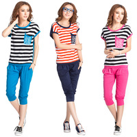Free Shipping 2013 New!! Set Women's casual sports set Women summer stripe short-sleeve sportswear 1607  tyw
