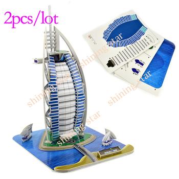 HOT SALE 2PCS/LOT 3D DIY Papercraft Card Model Home Adornment Puzzle Toy sailing Papermodel  10378