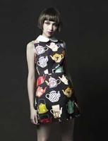 European Catwalk Teapots Printed One-piece Dress Chiffon Vintage Dress Casual Peter Pan Collar Sleeveless Cute Dress 2013
