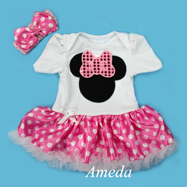 Minnie Mouse Body Mameluco Luz Color Rosa Pettiskirt Puntos