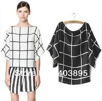 2013 New Fashion Sexy Women Chiffon Blouse Plaid Bat Sleeve Brand Short sleeves T-shirt(Black+White)Promotion Top,Free Shipping