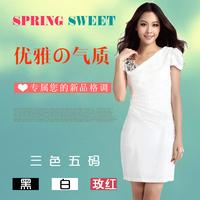 free shipping 2013 women's slim pencil dress ol fashion sparkling diamond V-neck chiffon one-piece dress short-sleeve