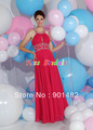 Drop Shipping P037 Sexy Beaded Straps Scoop Neckline Long Chiffon Hot Pink Prom Dress