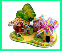 DIY puzzle toys, windmill farm, three dimensional paper model, new educational 3D puzzles