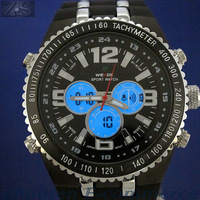 Free shipping WEIDE Two Time Analog & Digital Mens Sport Watch WH-1107-3 Waterproof Rubber Watchband LED Backlight