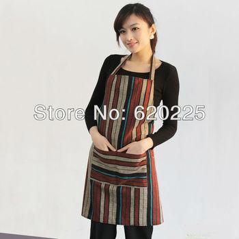 100% cotton calico fabric simple line quality apron waiter waitress housewife coffee shop restaurant bib apron  SKU#76191