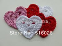 wholesale 5cm hand crochet heart appliques scrapbooking sewing trim bow boutique DIY 100pcs/lot
