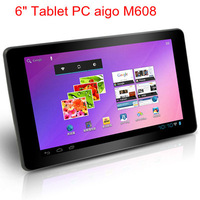 "Hot sale! 6"" Tablet PC aigo M608 ARM Cortex A8 1.2GHz 5 Point TFT Multi-Capacitance touch Android 4.0 512Mb RAM 4Gb Camera 0.3MP"