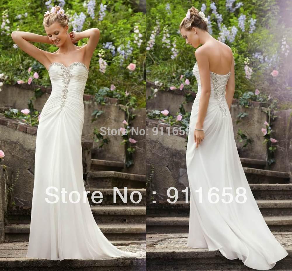 chiffon lace up floor length long beaded corset wedding