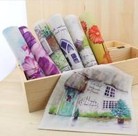 Hand dyed fabrics Cotton Linen Fabric DIY Patchwork fabric -scenery 19*20cm 7pcs/lot  ,Freeshipping
