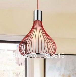 Modern Bird Cage Red Black White Glass  Pendant Lamp Living Room Dinning Room Chandelier Dia 33cm