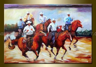 100% hand painted free shipping High quality Cowboys Abstract decoration art Living room oil paintings on canvas(China (Mainland))