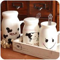 Silent love cute mug Creative couple coffee cup milk glass / ceramic cup glass lid spoon feed