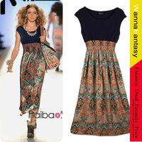Hot Sale Bohemian Vintage Print Chiffon Patchwork Long Dress For Summer Wear Free Shipping