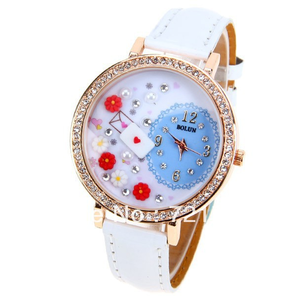Fashion Chic Bolun Women Girls White Leather Band Quartz Wrist Watch 4 Numbers & Diamonds Dots Hour Marks ,Cheap Brands Watch(China (Mainland))