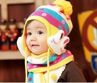 tz007-1 Free shipping 1pcs 5color Winter baby cap cartoon rabbit children wool  rainbow hat+rainbow scarf Set crochet baby hat
