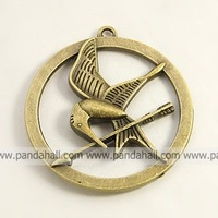 Tibetan Style Pendants,  Bird,  Lead Free,  Antique Bronze,  50x46x6mm,  Hole: 3mm