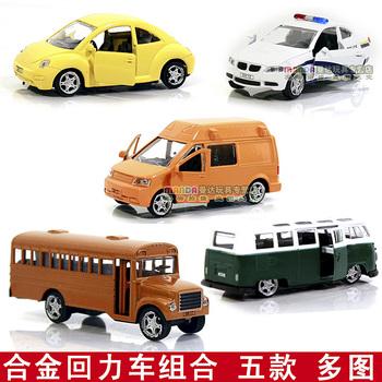 Alloy car set the door WARRIOR police car beetle school bus bread five pieces set of iveco open the door